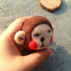 Handmade needle felted felting cute animal project monkey doll toy