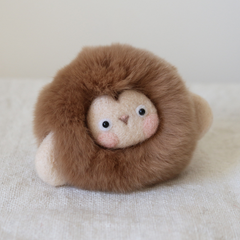 Handmade needle felted felting cute animal project monkey doll toy keycharm