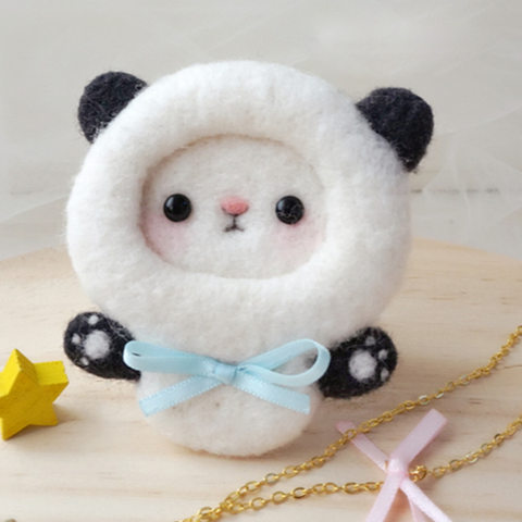 Handmade needle felted felting cute animal project panda cat brooth necklace