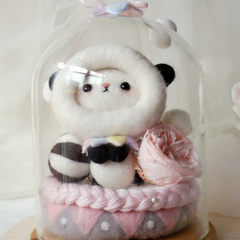 Handmade needle felted felting cute animal project cat panda gift box