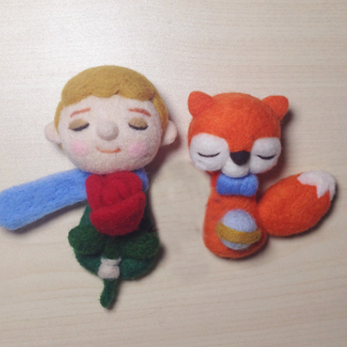 Handmade needle felted felting cute project fox and little prince felt doll