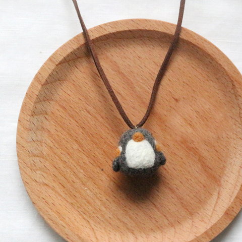 Handmade needle felted felting cute animal project penguin necklace accessories