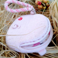Handmade needle felted felting cute animal project pig coin wallet
