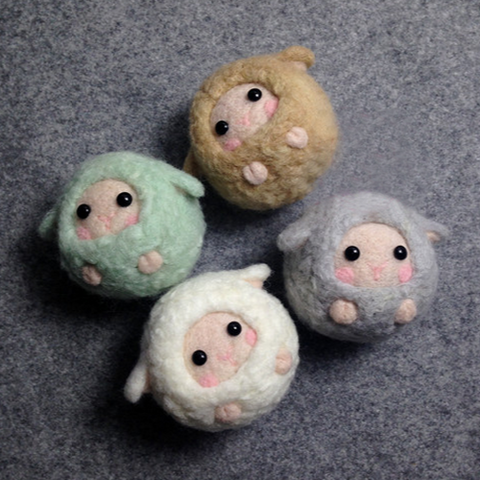 Needle Felted Felting Wool project Animals sheep lamb Charm Cute keychain