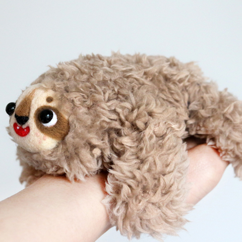Handmade needle felted felting cute animal project sloth doll toy