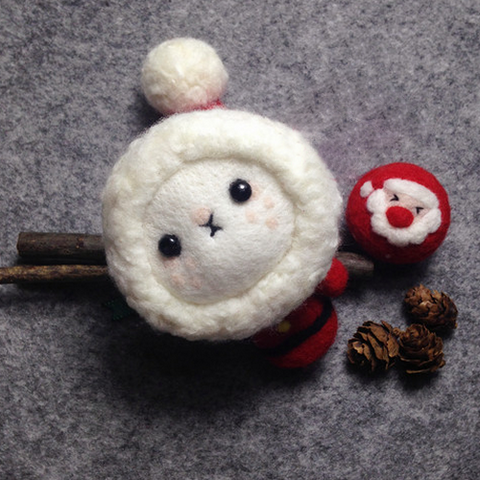 Handmade needle felted felting cute animal project Santa doll Christmas toy