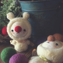 Handmade Needle felted felting project animal cute Christmas snowman felted wool doll