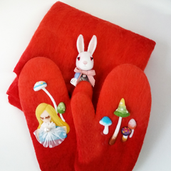Needle Felted Felting project Animals Bunny Cute Brooch Alice in Wonderland
