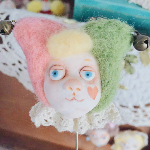 Handmade needle felted felting cute project Forest Circus brooches accessories