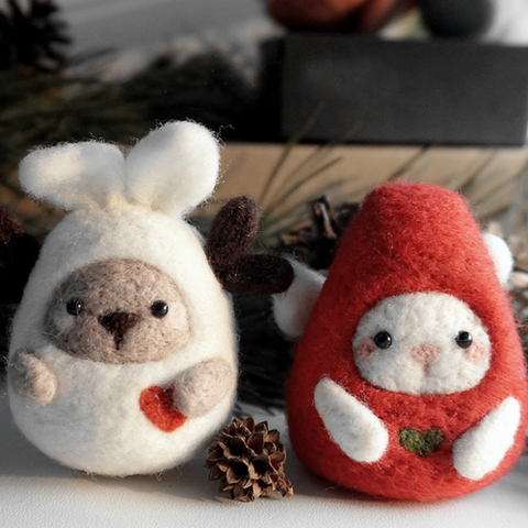 Handmade Needle felted felting project animal cute bunny reindeer wool doll