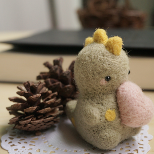 Handmade needle felted felting cute project dinosaur toy doll