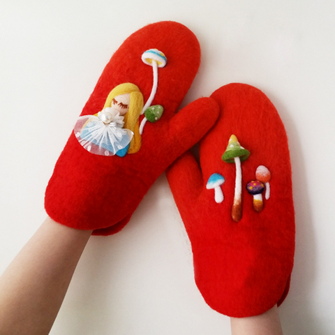 Handmade needle felted felted cute red gloves Alice in Wonderland