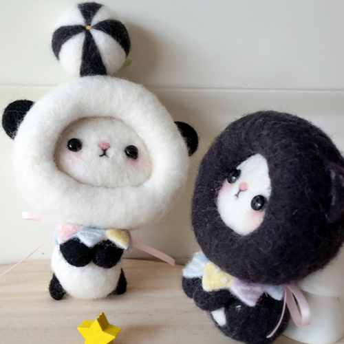 Handmade needle felted felting cute animal project panda cat toys