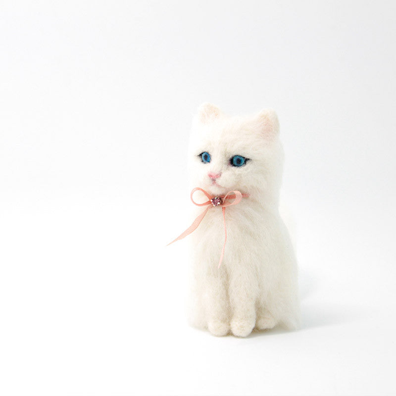 Needle Felted Felting project Animals Cat White Cute Craft