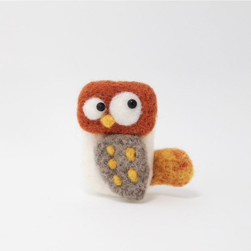 Needle Felted Felting project Animals Owl Cute Brooch Jewelry