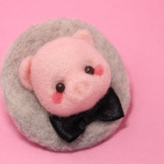 Needle Felted Felting project Animals Pig Cute Brooch Jewelry
