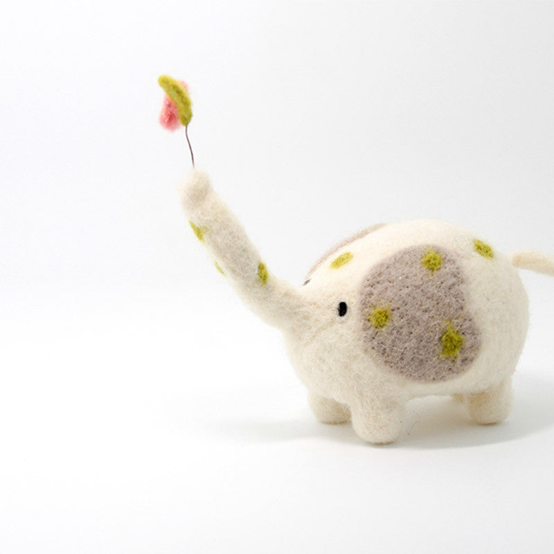 Needle Felted Felting project Animals Elephant Flower Cute Craft