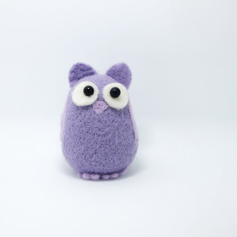 Needle Felted Felting project Animals Owl Purple Cute Craft