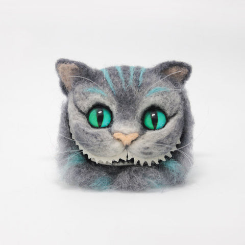 Needle felt project animals Cheshire cat brooch hair clip felt cute craft