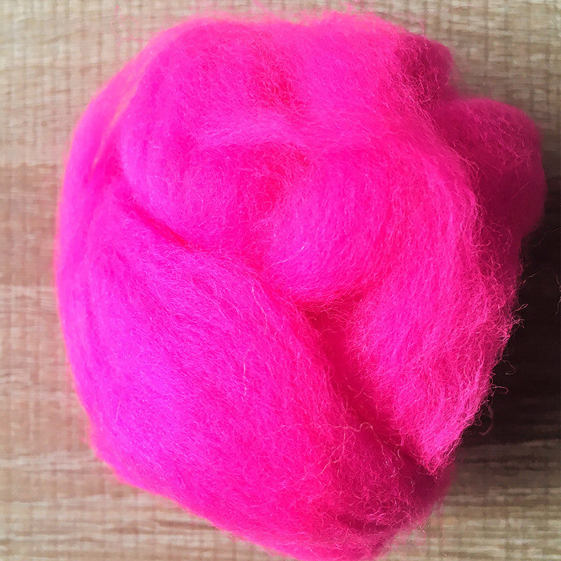 Needle felted wool felting Bright Pink wool Roving for felting supplies short fabric easy felt