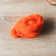 Needle felted wool felting warm orange wool Roving for felting supplies short fabric easy felt