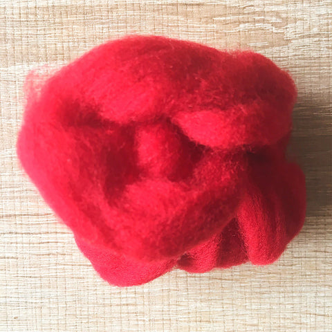 Needle felted wool felting Cherry Red wool Roving for felting supplies short fabric easy felt