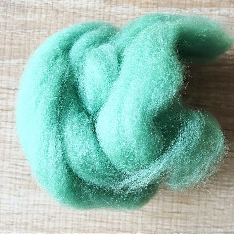 Needle felted wool felting Green Celadon wool Roving for felting supplies short fabric easy felt