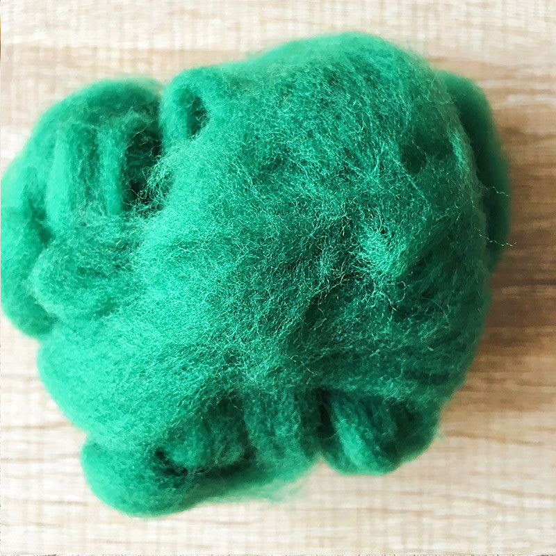 Needle felted wool felting Green Forest wool Roving for felting supplies short fabric easy felt