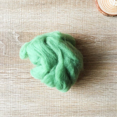 Needle felted wool felting Green Leaf wool Roving for felting supplies short fabric easy felt