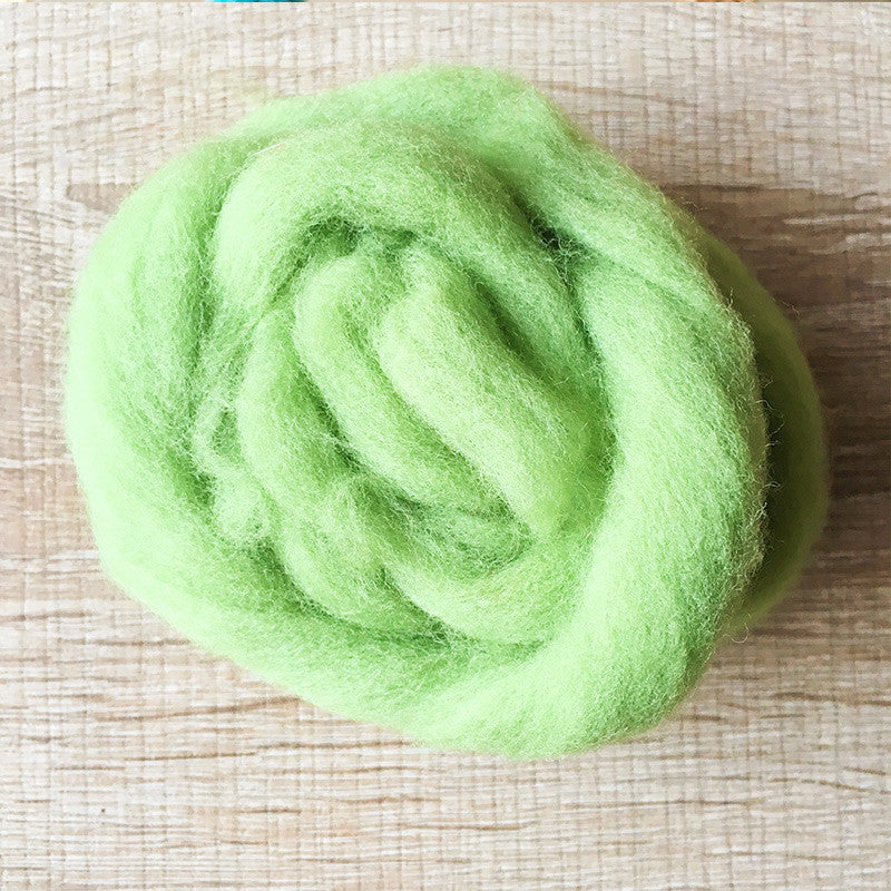 Needle felted wool felting Green apple wool Roving for felting supplies short fabric easy felt