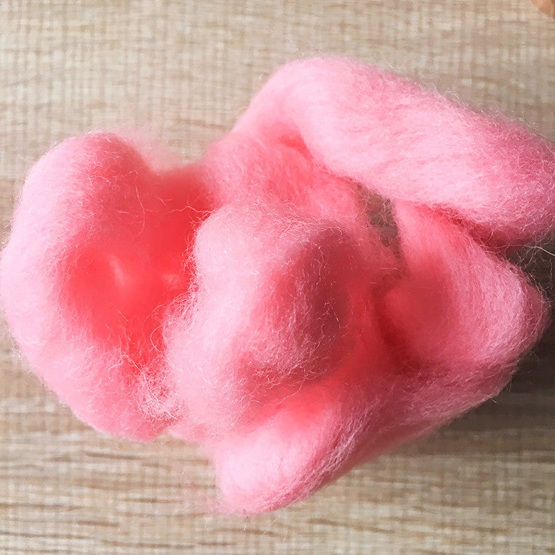 Needle felted wool felting Salmon pink wool Roving for felting supplies short fabric easy felt