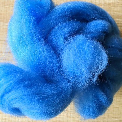 Needle felted wool felting Blue Doraemon Blue wool Roving for felting supplies short fabric easy felt