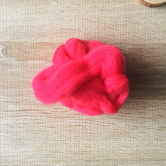 Needle felted wool felting bright cherry-red wool Roving for felting supplies short fabric easy felt