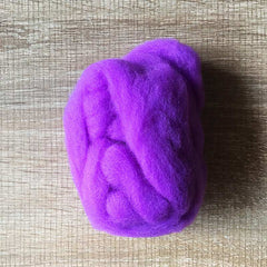 Needle felted wool felting bright purple wool Roving for felting supplies short fabric easy felt