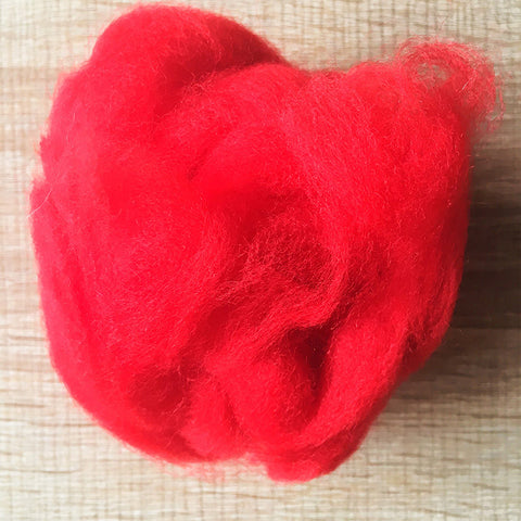 Needle felted wool felting bright red wool Roving for felting supplies short fabric easy felt