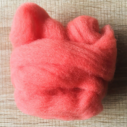 Needle felted wool felting coral red wool Roving for felting supplies short fabric easy felt