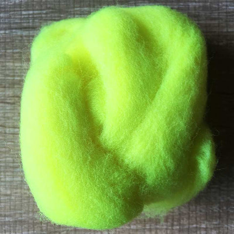 Needle felted wool felting fluorescent yellow wool Roving for felting supplies short fabric easy felt