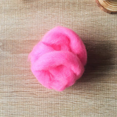Needle felted wool felting phosphor pink wool Roving for felting supplies short fabric easy felt
