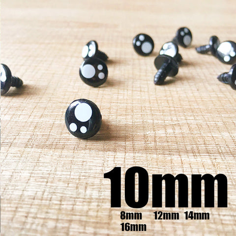 Needle felting bead eyes 10 pairs 10mm Safety eyes Animal eyes Amigurumi eyes Doll eyes Stuffed Toy eyes Doll Parts Plastic eyes Black