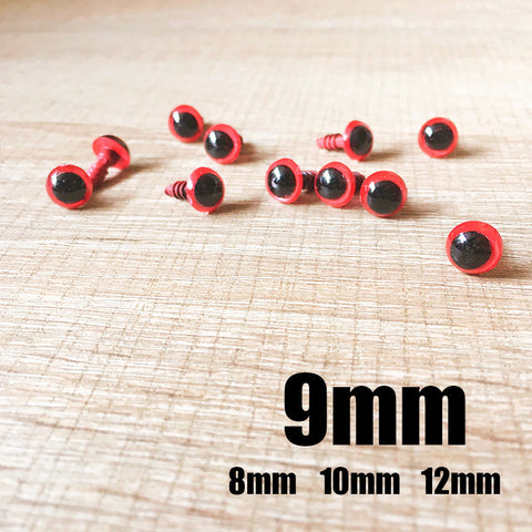 Needle felting bead eyes 10 pairs 9mm red Safety eyes Animal eyes Amigurumi eyes Doll eyes Stuffed Toy eyes Doll Parts Plastic eyes Black