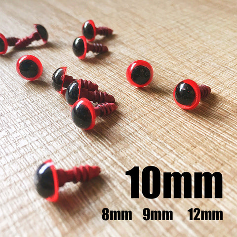 Needle felting bead eyes 10 pairs 10mm red Safety eyes Animal eyes Amigurumi eyes Doll eyes Stuffed Toy eyes Doll Parts Plastic eyes Black