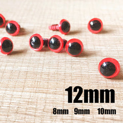 Needle felting bead eyes 10 pairs 12mm red Safety eyes Animal eyes Amigurumi eyes Doll eyes Stuffed Toy eyes Doll Parts Plastic eyes Black