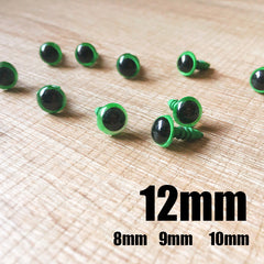 Needle felting bead eyes 10 pairs 12mm green Safety eyes Animal eyes Amigurumi eyes Doll eyes Stuffed Toy eyes Doll Parts Plastic eyes Black