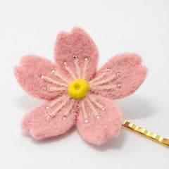 Needle Felted project Hair Pin Flower Sakura Jewelry Craft