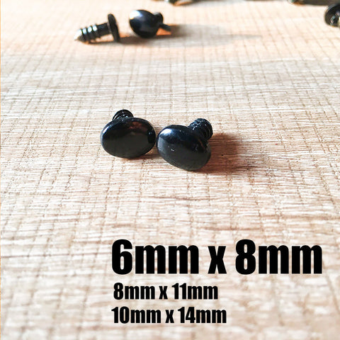 Needle felting supplies 6mmx8mm 20 oval black animal dog puppy nose eyes Safety nose Animal nose Amigurumi nose eyes Doll nose Stuffed Toy nose Doll Parts Plastic nose Black