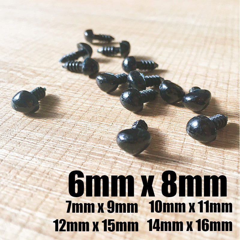 Needle felting supplies animal dog puppy nose 20 pieces 6mmx8mm Safety nose Animal nose Amigurumi nose Doll nose Stuffed Toy nose Doll Parts Plastic nose Black