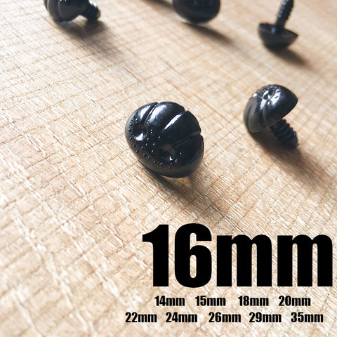 Needle felting supplies animal dog puppy nose 8 pieces 16mm Safety nose Animal nose Amigurumi nose Doll nose Stuffed Toy nose Doll Parts Plastic nose Black