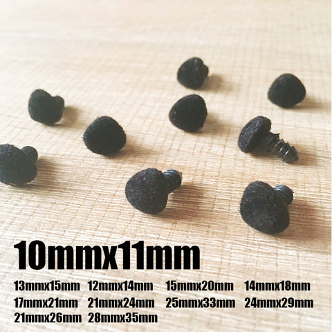 Needle felting supplies animal velour dog puppy nose 10 pieces 10mmx11mm Safety nose Animal nose Amigurumi nose Doll nose Stuffed Toy nose Doll Parts Plastic nose Black