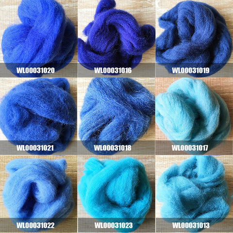 Needle felted supplies wool felting Blue wool Roving for felting short fabric