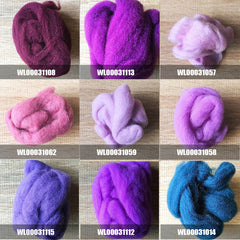 Needle felted supplies wool felting purple wool Roving for felting short fabric